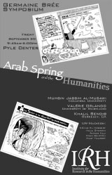 """Poster for the event """"The """"Arab Spring"""" and the Humanities"""" in grey, black, and white with political cartoons"""