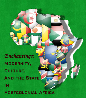 """Poster for """"Enchantings..."""" Symposium depicting an image of the African continent covered with country flags in the shape of each country"""