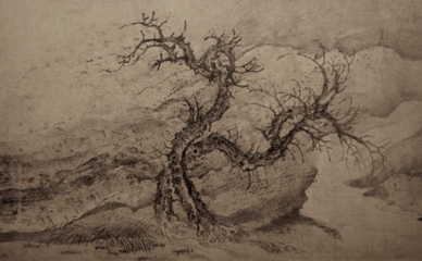 Image of a Chinese Lierati painting of a tree in a wind-swept landscape