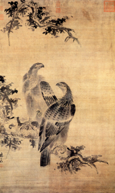 Image of a Ming-period Chinese ink drawing of two birds perched on a limb