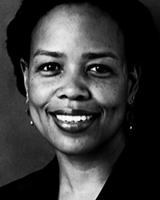 Black and white image of Saidiya Hartman, closely cropped