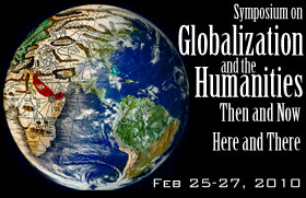 """Image of poster for event """"Globalization and the Humanities..."""" with an image of the earth from outer space turning into an antique globe"""