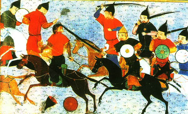 Painted image of Chingiz Khan riding into battle from Rashid-al-Din (men on horses with swords and shields attacking standing men)