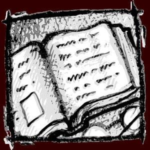 Digital drawing of an open book with squiggly lines