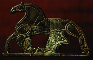 Image of a 7th or 8th century mount (metal sculpture shaped like a horse) from Veggersley, National Museum, Denmark
