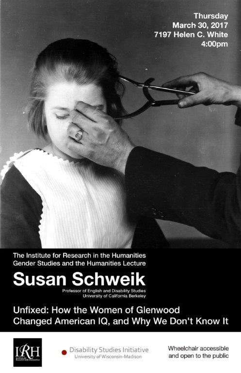 Poster for Susan Schweik Lecture with a black and white image of a young girl having her head measured with calipers