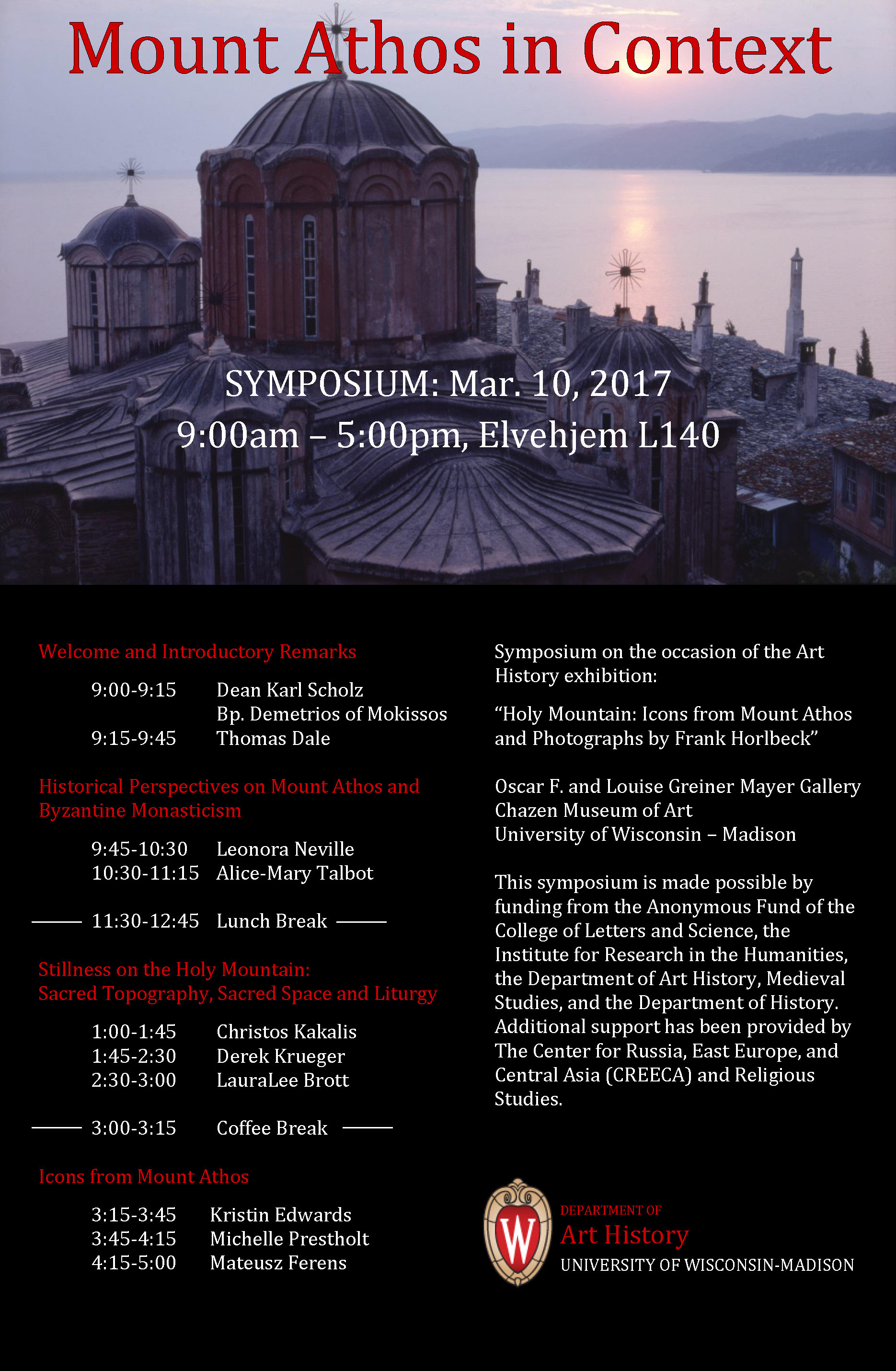"""Image of a poster for the event """"Mount Athos in Context"""" showing speaker names and an image of a cathedral"""