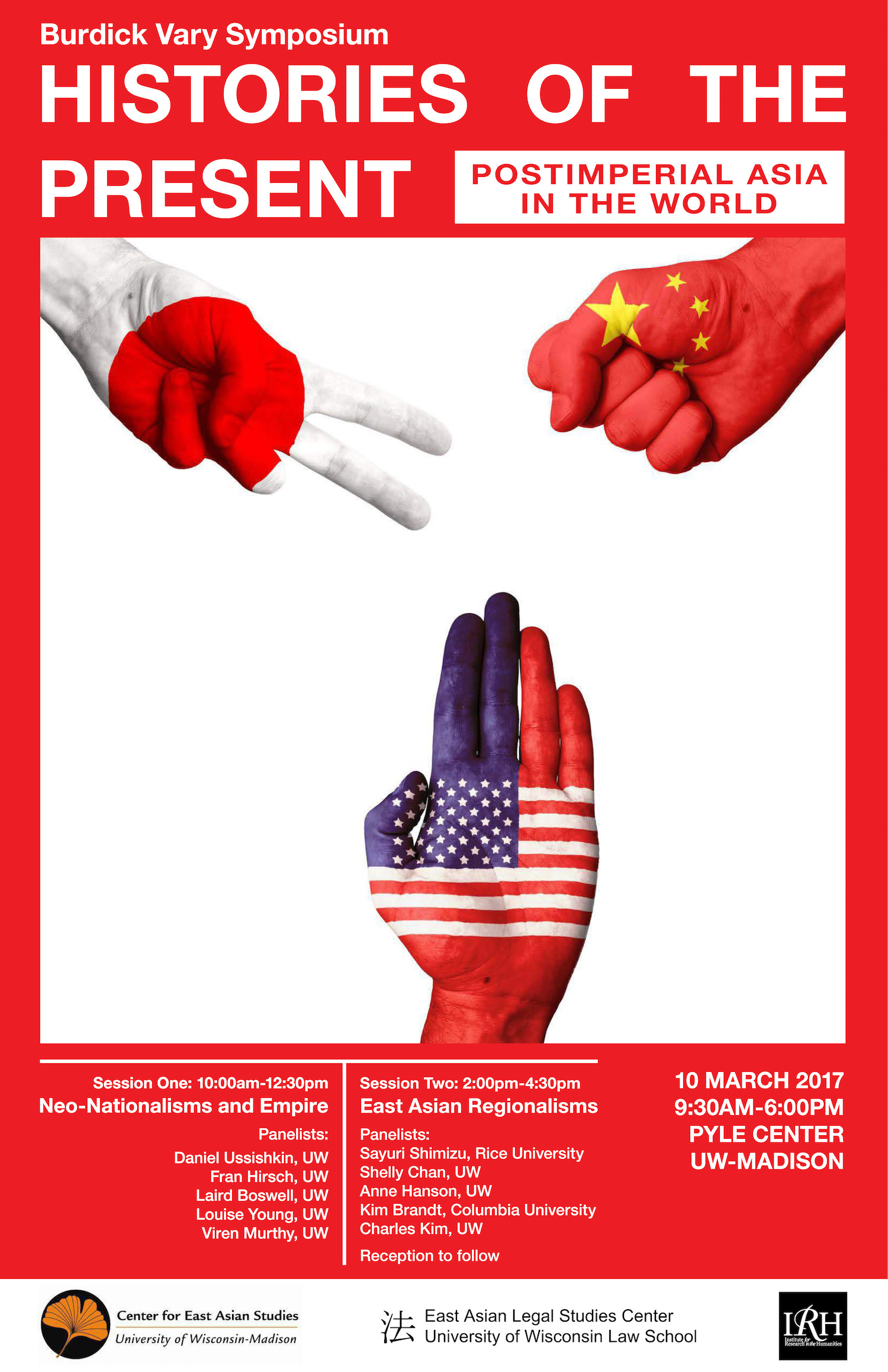 """Image of Poster for """"Histories of the Present..."""" event depicting three hands making 'rock-paper-scissors' motions with U.S., Japanese, and Chinese flags superimposed on the hands"""