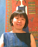 Portrait image of Yuhang Li in front of a brightly-colored painting
