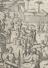 Image of cropped section of an etching of a 16th century bazaar in Banten Indonesia. Various people in many kinds of costumes speak or walk around goods