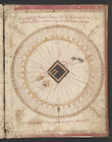 Image from 'Alī ibn Aḥmad al-Sharafī al-Ṣifāqsī's 1571 atlas. It is a map of the Kaʿba in Mecca surrounded by the lands of Islam and though inaccurate, it was intended to instruct Muslim users on the proper direction (toward the Kaʿba) to face during prayer.