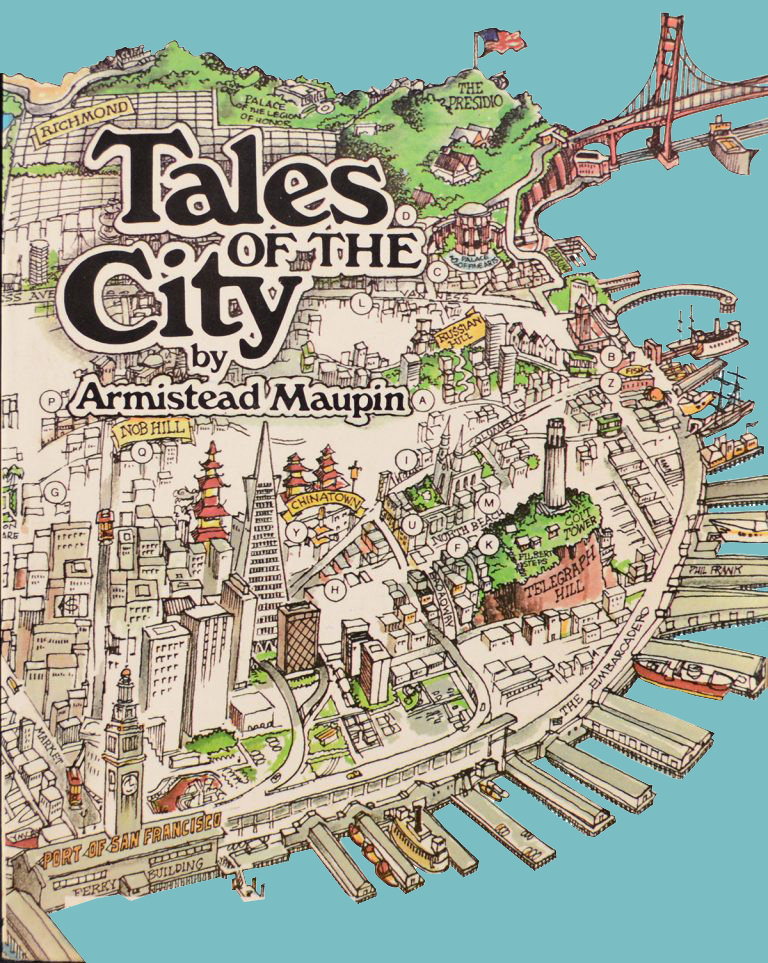 """Image of cover of Novel """"Tales of the City"""" depicting an illustration of San Francisco"""