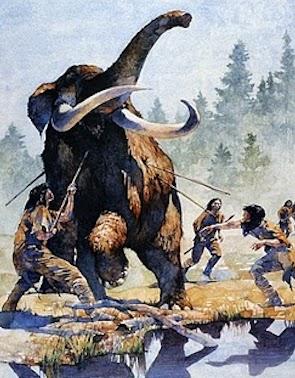 "Painted image of a Mastodon hunt: ""A Mastodon Hunt"" by Greg Harlin, 1998 (w/c on paper)"