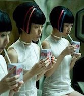 "Sonmi 451 (center) in the film ""Cloud Atlas,"" portrayed by Bae Doona"