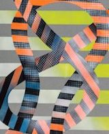 Image of Marianne Fairbank's design work: bold-colored stripes in various directions (vertical and undulating in a curved form)