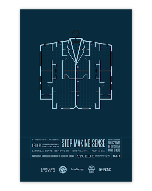 """Image of Event Poster for """"Stop Making Sense"""" screening by designer Rusty Cook showing a large suit outline as a building blue print."""