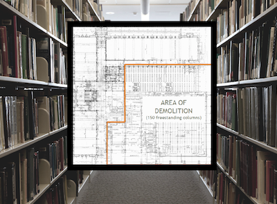 Image of area of planned destruction of Memorial Library superimposed on photograph of the stacks of Memorial Library