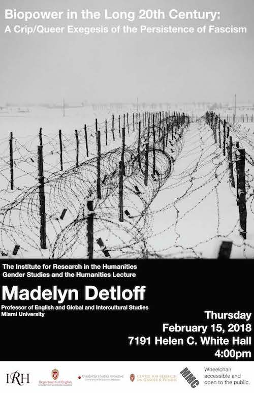 Poster for event depicting a black and white snow-covered landscape of barbed wire fences leading off to the distance