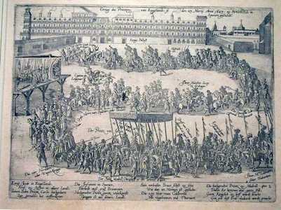 Historic print depicting Arrival of the Prince of Wales at the Palace of Madrid on 23 March 1623