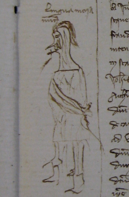 Drawing from the margins of a notarial register depicting an individual with hands tied behind the back with his tongue having been cut out