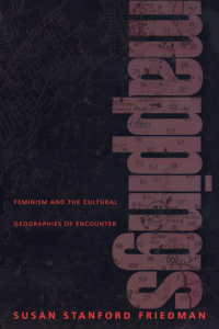 "Cover of Book ""Mappings: Feminism and Cultural Geographies of Encounter"" in black, red, and dark mauve"