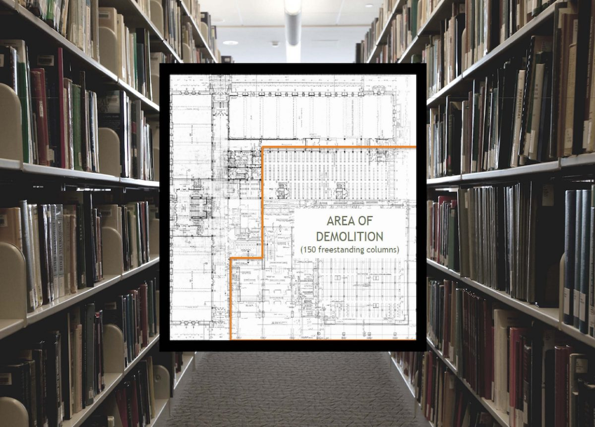 Image of a row of library stacks with a demolition plan superimposed on top of the image.
