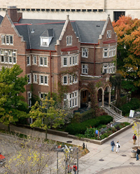 Aerial Image of the exterior of the University Club showing a section of the library mall at UW-Madison
