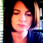 Portrait image of Guillermina De Ferrari in front of book shelves with text at left side of image