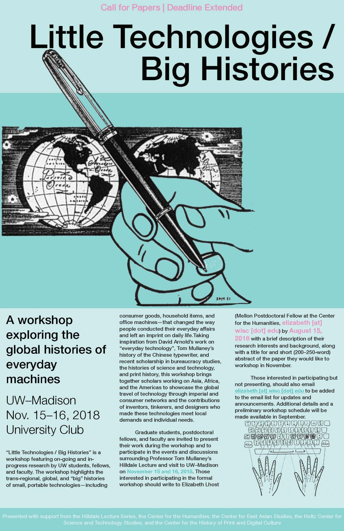 "Poster for workshop ""Little Technologies / Big Histories"" with information about the event"