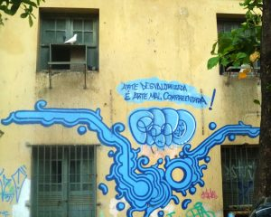 """A photograph depicting graffiti on a residential building. An abstract, light blue, undulating shape lies below a spray painted message which reads, in Portuguese: """"Un-valorized art is misunderstood art."""""""