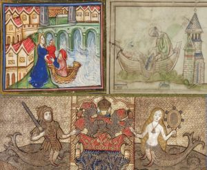 Image group of three items: 1) a Waterman rescuing a child from drowning in the Thames; 2) St. Peter and a fisherman drawing up a net containing two salmon, and then the fisherman carrying St Peter's choice of fish to Bishop Mellitus; and 3) a picture of the Fishmonger's Company Funeral Pall, depicting their coat of arms in the center, a merman (in armor holding a sword), and a mermaid (holding a mirror).