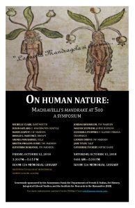 """Event poster for Symposium with manuscript image of a male and female """"mandrake"""""""