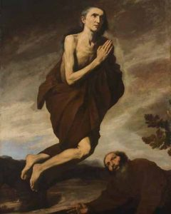 Image of painting by Jusepe de Ribera depicting St. Mary of Egypt floating during a moment of ecstasy. She holds her hands in a gesture of prayer and wears a brown robe. A man leans on the ground below her.
