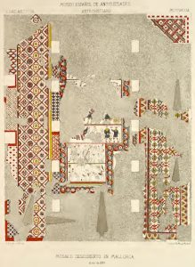 """Drawing of a colorful mosaic floor with large sections of the drawing missing (where mosaic floor was missing) labeled """"Manuel de Assas (1877): """"Mosaico descubierto en Mallorca en 1833."""""""