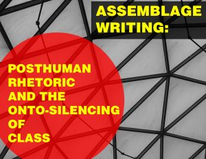 Flyer for Rob Wilkie's seminar on posthuman rhetoric and class showing a black and white photo of a geometric pattern with red and black geometric shapes on top of the photo.