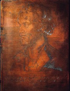 Color photograph of a copper plate etching by Albrecht Dürer depicting the bust portrait of Philip Melanchthon facing to the left.