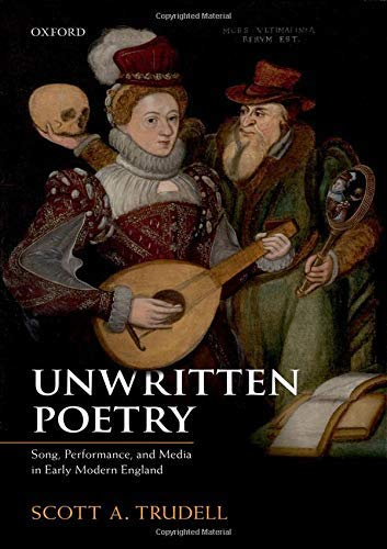 "Cover of Book ""Unwritten poetry"" depicting an early modern painting of musicians and actors"