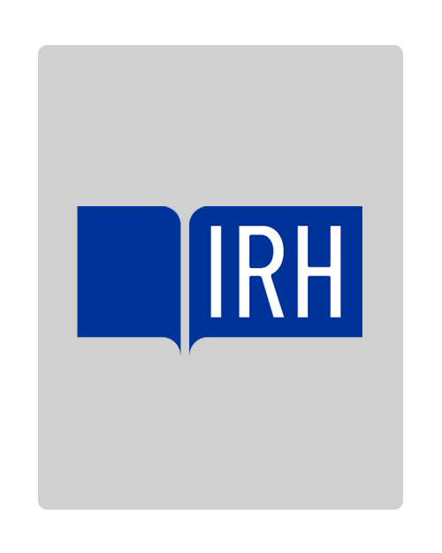 Stock image of IRH logo for fellows that did not provide a portrait image--blue logo on grey background