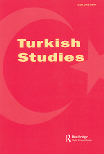 "Cover of journal ""Turkish Studies"" in red and yellow"