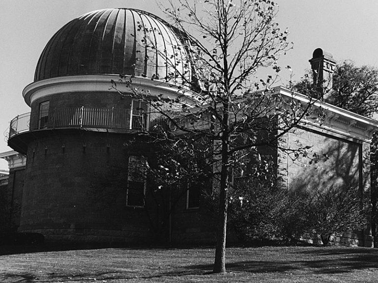 Black and white image of Washburn Observatory