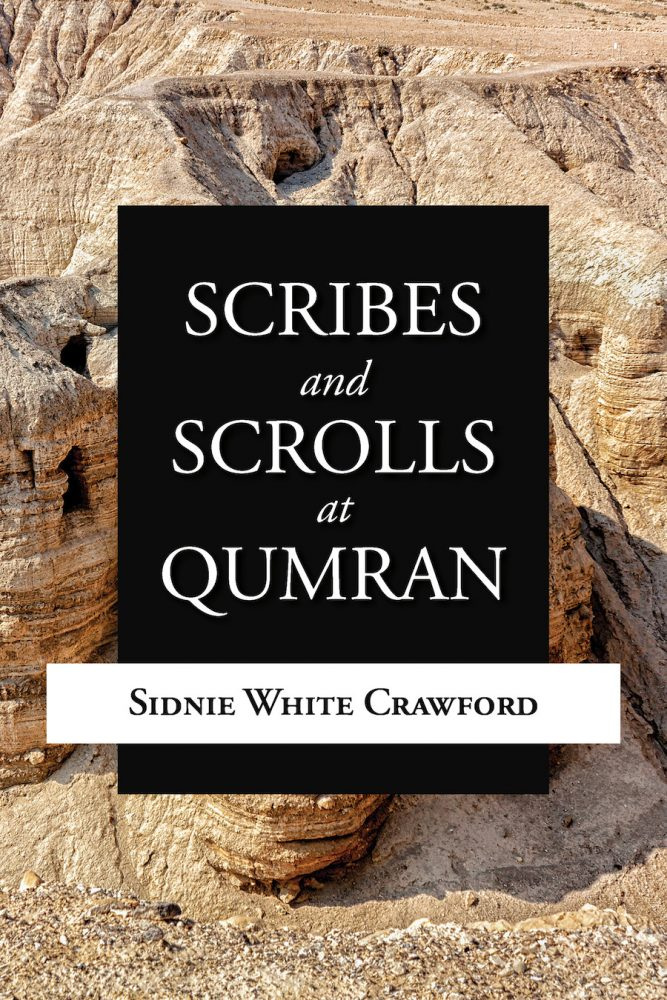 "Cover of book ""Scribes and Scrolls at Qumran"" depicting a desert landscape"