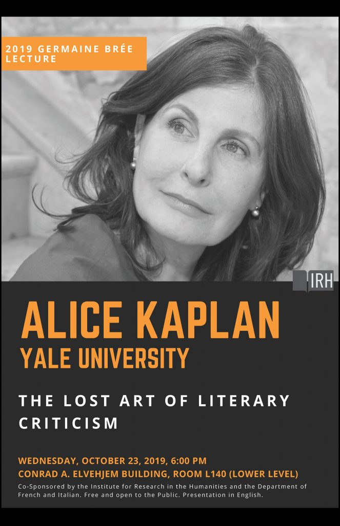 Poster for lecture with date and room details and black and white portrait of Alice Kaplan