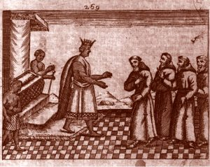 Image of a woodblock print depicting a king stepping down from a throne and gesturing towards 4 individuals in a line dressed as monks in robes with shorn hair.