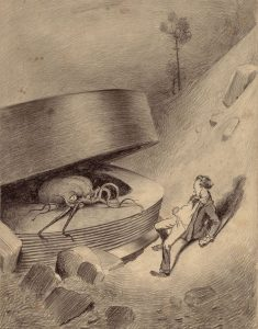 Image is pencil drawing of an octopus-like Martian crawling out of a disk and scaring a man in 19th century dress