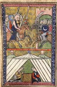 image of 13th century painted miniature depicting fighting knights on horses in the top section and two people playing chess within a tent in the bottom section.