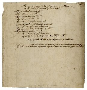 Image of a a handwritten manuscript verse libel bitterly satirizing Elizabethan corruption on parchment paper.