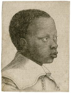 Closely-cropped etching/drawing portrait of a young black boy looking off to the right.