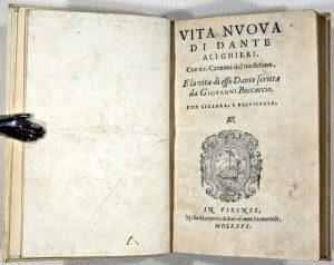"""image of the frontispiece for Dante's book """"Vita Nova"""""""