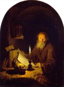 Image of a dark panel painting depicting an old man at a desk reading by lamp light