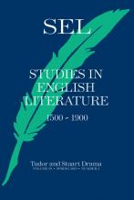 Cover of issue 57.2 of SEL Studies in English Literature with a green feather on a dark blue background